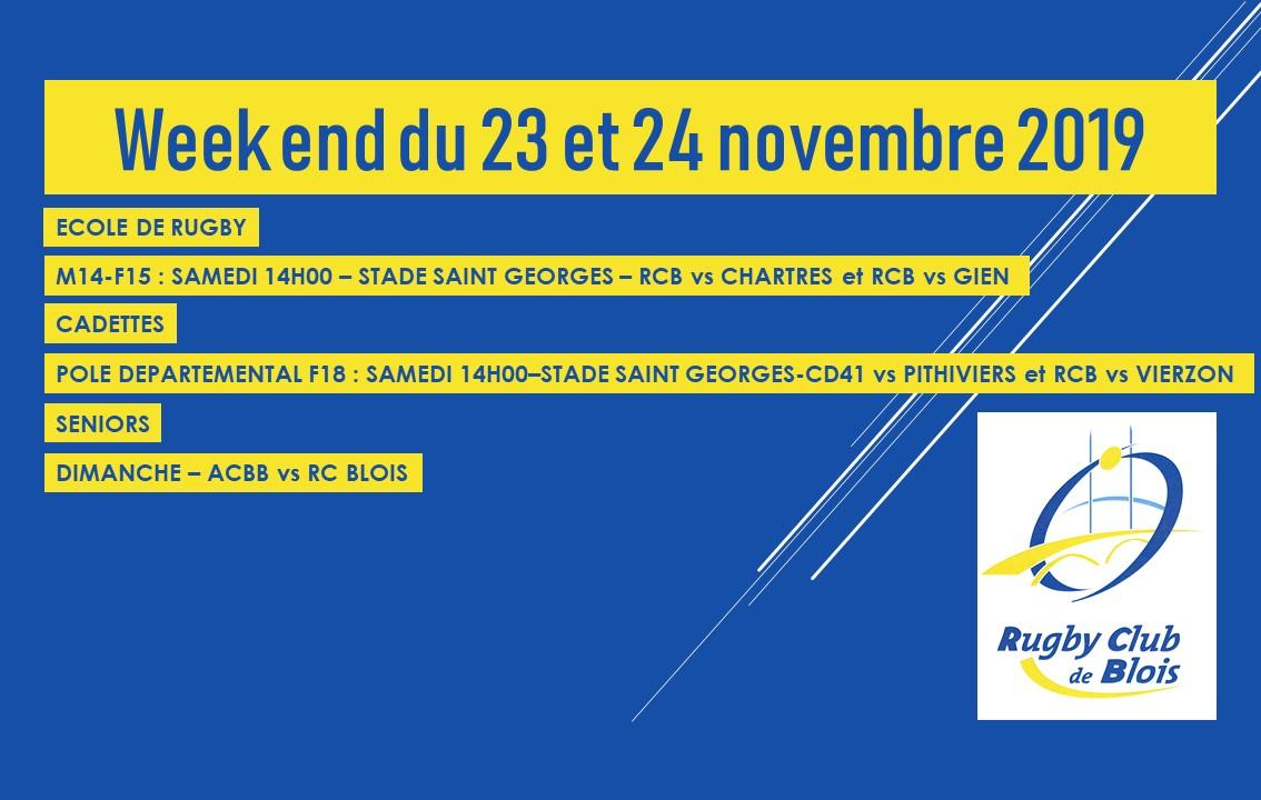 Au programme du week-end du 23 et 24 novembre