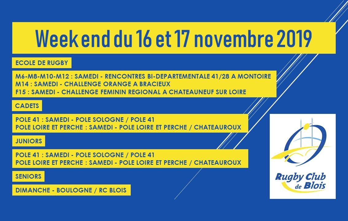 Au programme du week-end du 16 et 17 novembre