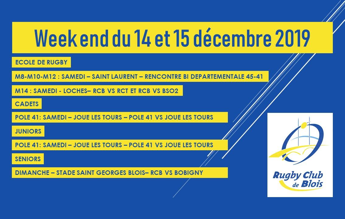Au programme du 14 et 15 décembre pour le RCB