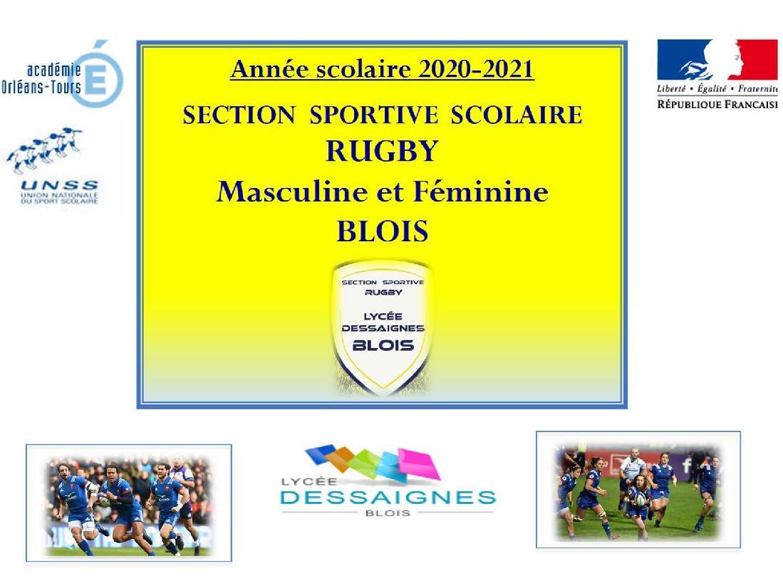 CANDIDATURES A LA SECTION SPORTIVE SCOLAIRE RUGBY 2020-2021 (18 Mars à Blois)