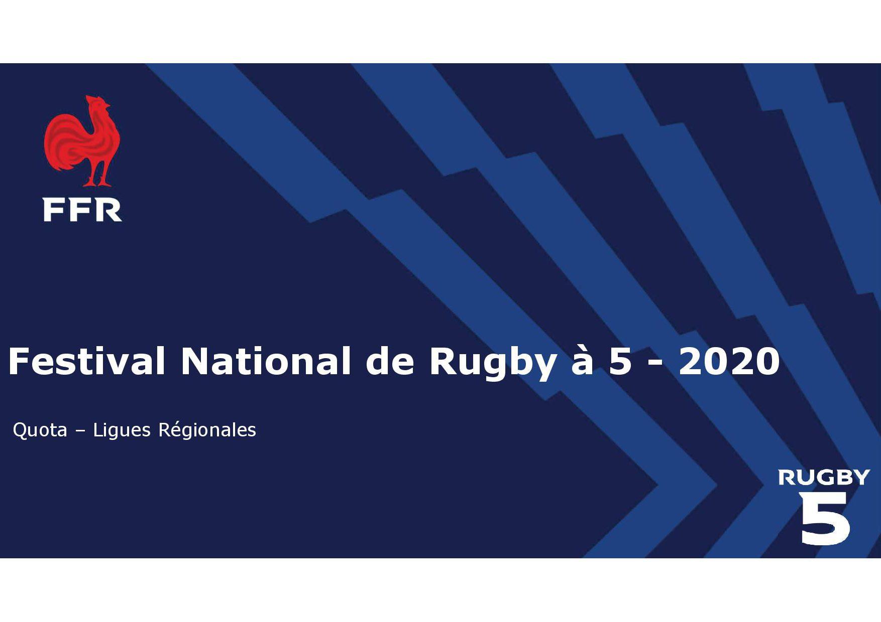 FESTIVAL NATIONAL DE RUGBY A 5 – 2020 A BLOIS :  QUOTA