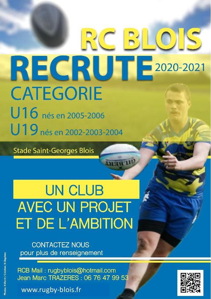 Le RC Blois recrute dans les catégories U16 et U19, saison 2020-2021
