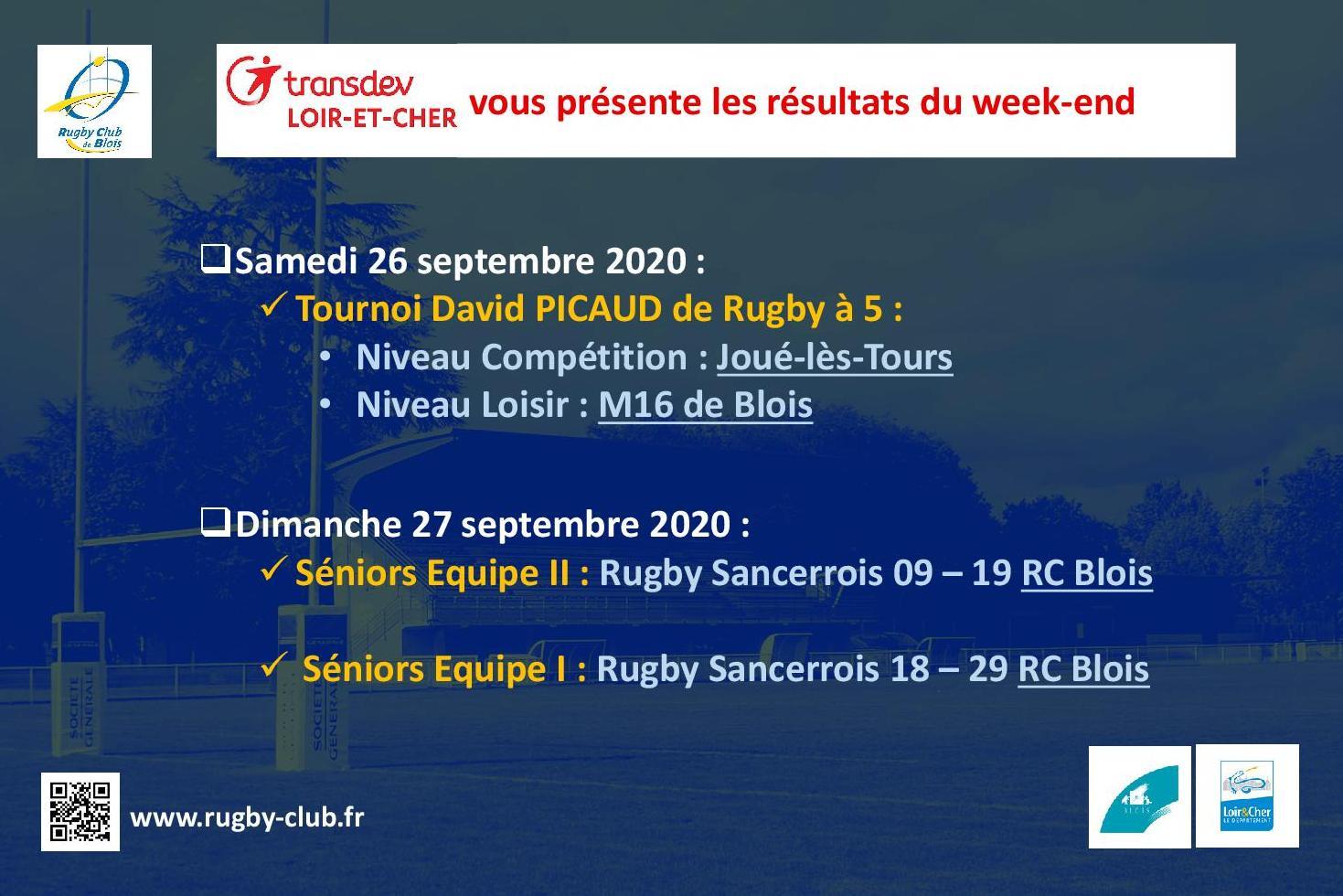 RC Blois : Les résultats du week-end des 26 et 27 septembre 2020