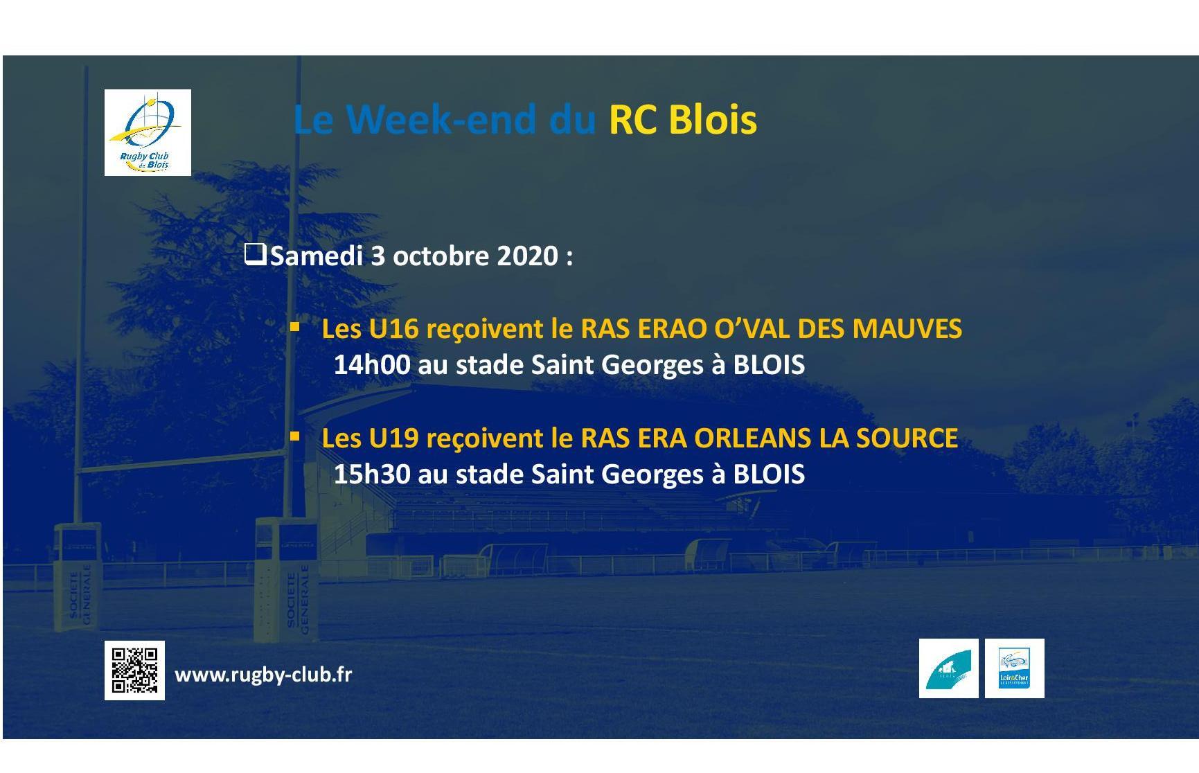 Le RC Blois vous annonce les matchs du week-end des 3 et 4 octobre 2020