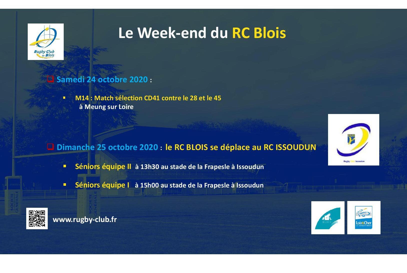 Le RC Blois vous annonce les matchs du week-end des 24 et 25 octobre 2020
