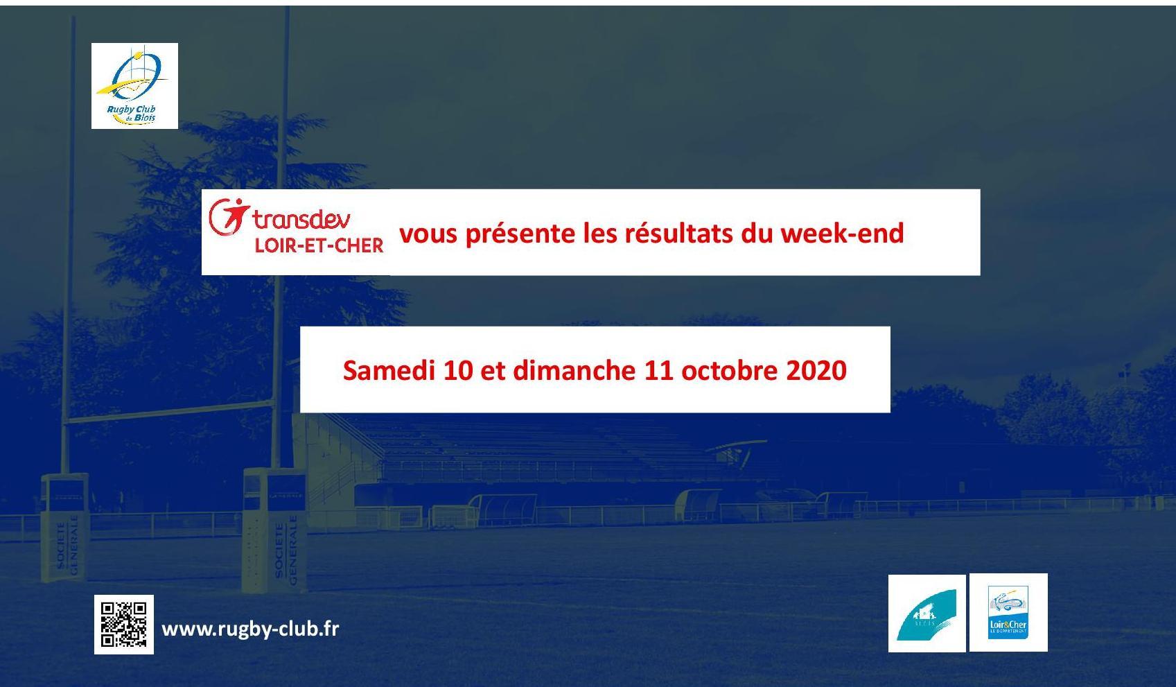 RC Blois : Les résultats du Week-End des 10 et 11 octobre 2020