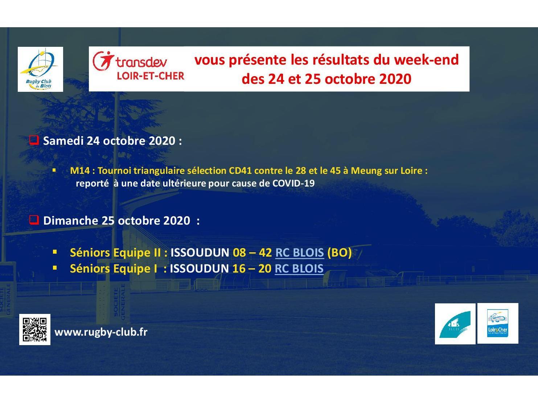 RC Blois : Les résultats du Week-End des 24 et 25 octobre 2020