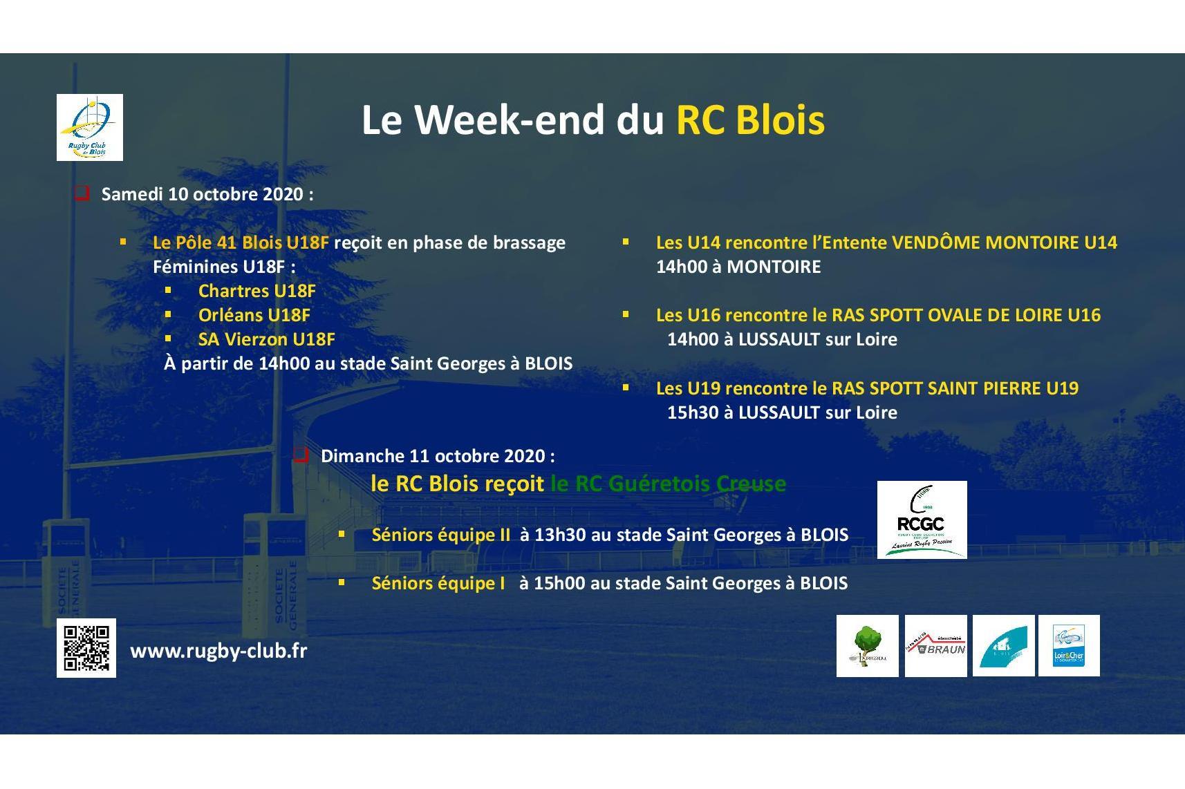 Le RC Blois vous annonce les matchs du week-end des 10 et 11 octobre 2020 – Correctif