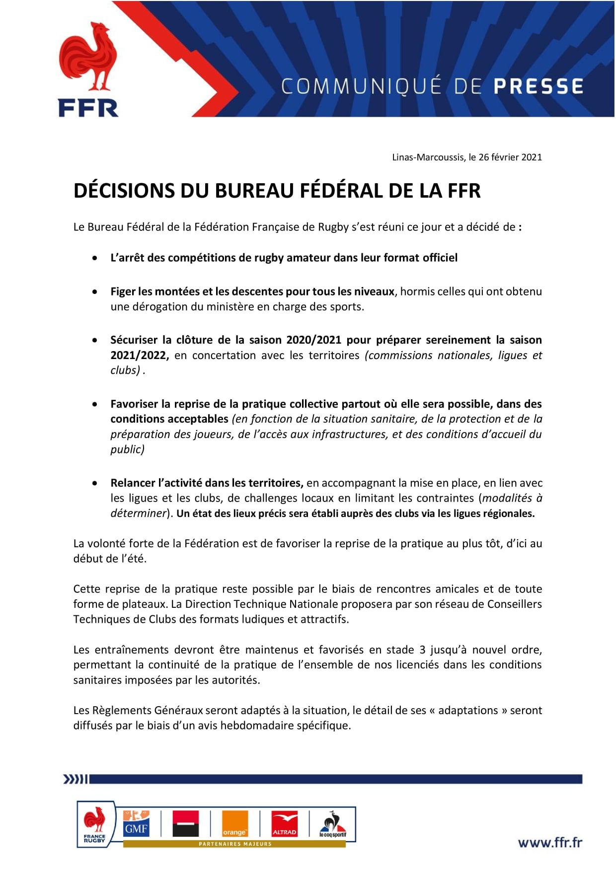 Amateurs: La FFR a décidé l'arrêt des compétitions 2020-2021