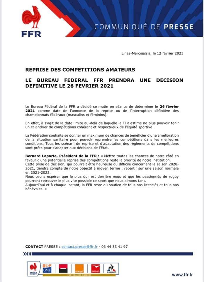 Compétitions amateurs: Le Bureau Fédéral FFR prendra une décision définitive le 26 février 2021