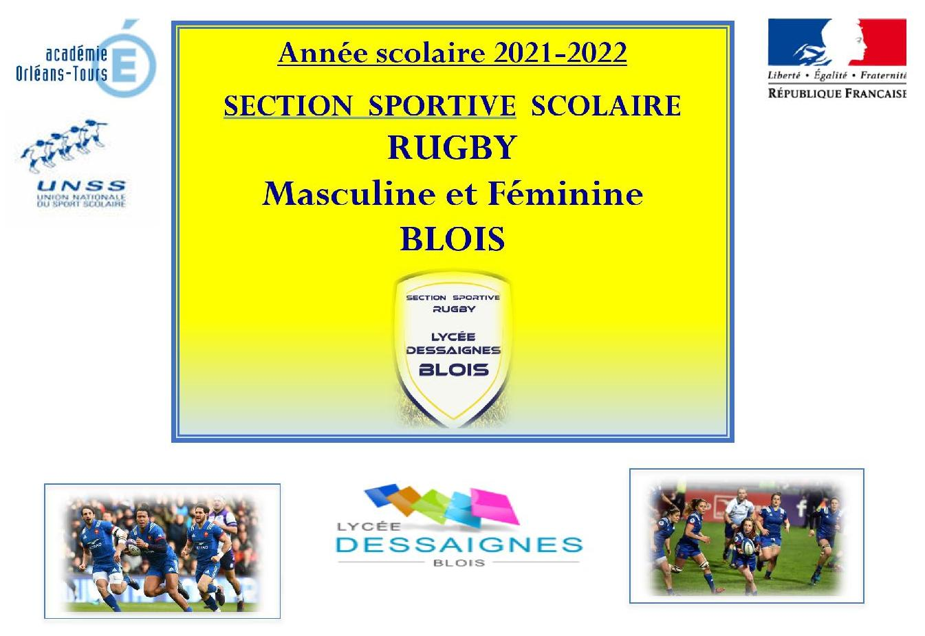 Section Sportive Scolaire Rugby 2021-2022 : Journée de détection le 7 avril